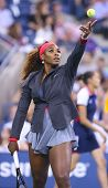 Sixteen times Grand Slam champion Serena Williams during her first round match at US Open 2013