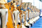 stock photo of trophy  - Many shiny gold trophies in a rows - JPG