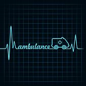 heartbeat make ambulance text and symbol stock vector