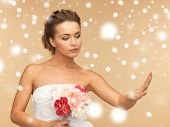 valentine's day, bridal, wedding, christmas, x-mas, winter, happiness concept - bride looking at wed