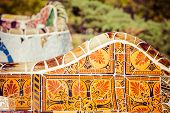 stock photo of gaudi barcelona  - Park Guell designed by Antonio Gaudi in Barcelona Spain In Barcelona - JPG