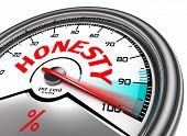 stock photo of moral  - honesty per cent meter indicate hundred per cent isolated on white background - JPG