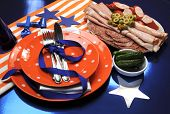 stock photo of broncos  - Denver Broncos party table settings for Super Bowl National Football League  - JPG