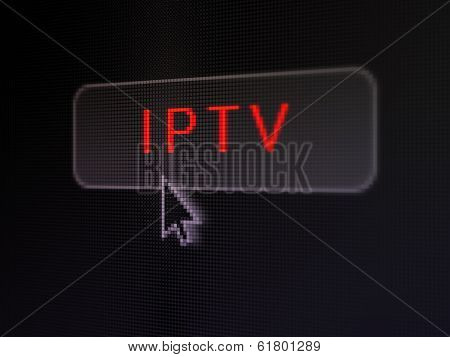 Web development concept: IPTV on digital button background