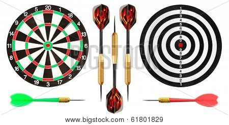 Dart board and darts on white background