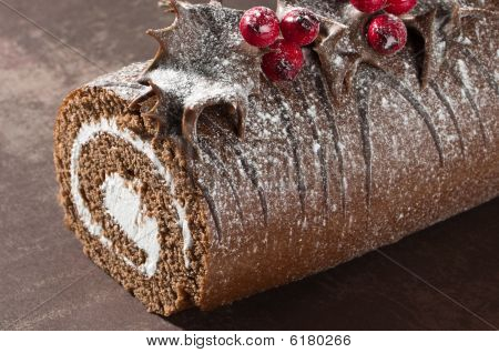 Christmas Yule Log Close Up