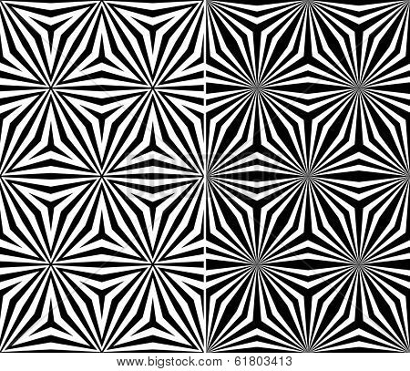 Set of Two Seamless Triangle Elements Pattern. Vector Illustration