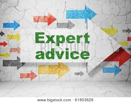 Law concept: arrow with Expert Advice on grunge wall background
