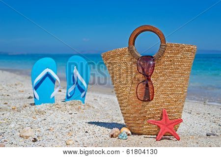 Straw Bag On Then Sand