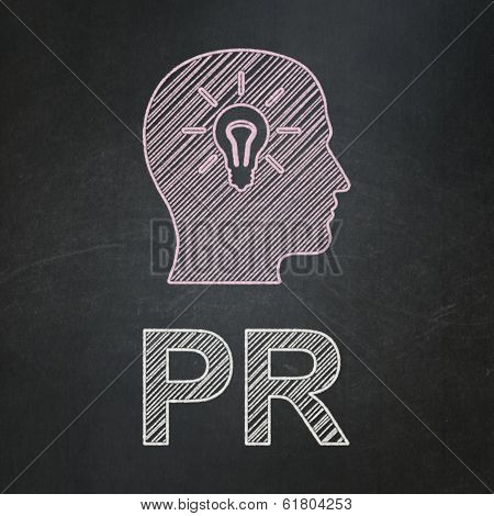 Marketing concept: Head With Light Bulb and PR on chalkboard background