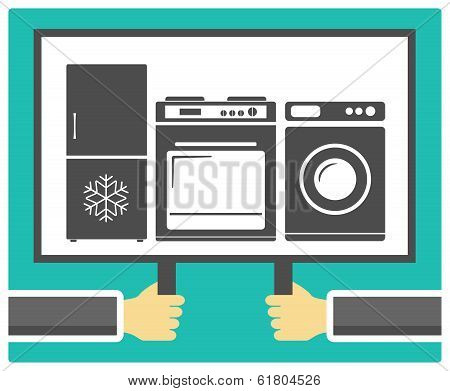 hands, poster and home appliances