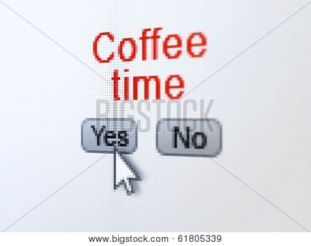 Time concept: Coffee Time on digital computer screen