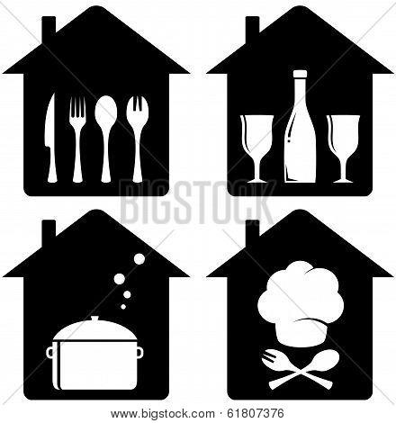 set home icon with kithen utencil