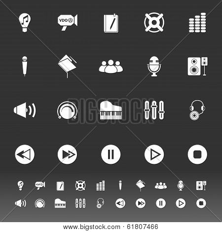 Music Icons On Gray Background