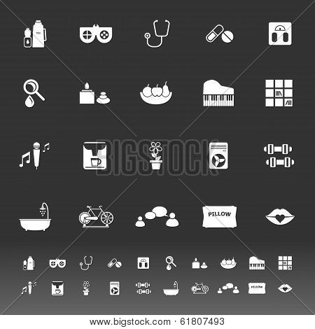 Wellness Icons On Gray Background