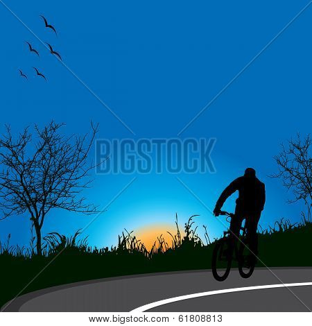 Driving bicycle in nature