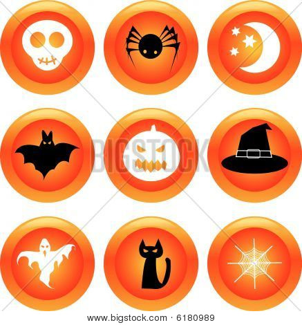 Set of halloween buttons