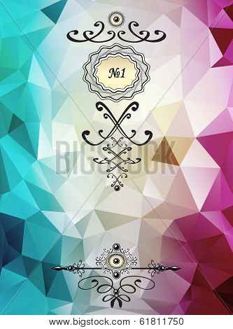 Abstract triangle background with badge cyan lilac color