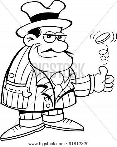Cartoon gangster flipping a coin.