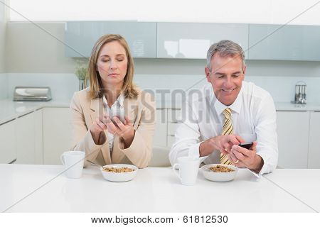 Business couple text messaging while having breakfast in the kitchen at home