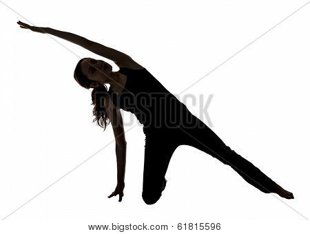 Woman Stretching Her Side Body In Yoga, Silhouette