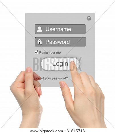 Women hands hold and touch login box