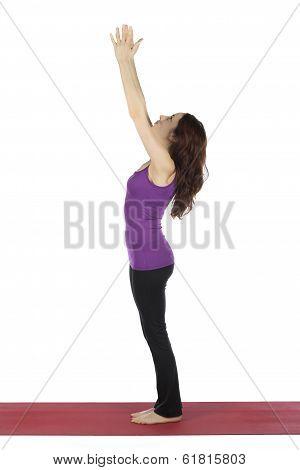 Woman In Upward Salute In Yoga