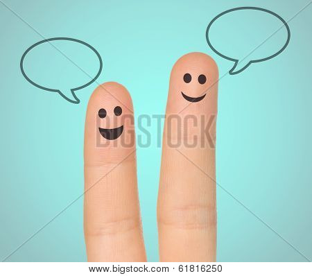 Happy fingers with speech bubbles