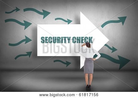 The word security check and businesswoman scratching her head against arrows pointing