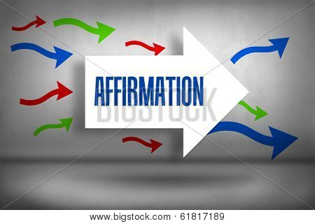The word affirmation against arrows pointing