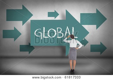 The word global and businesswoman scratching her head against blue arrows pointing