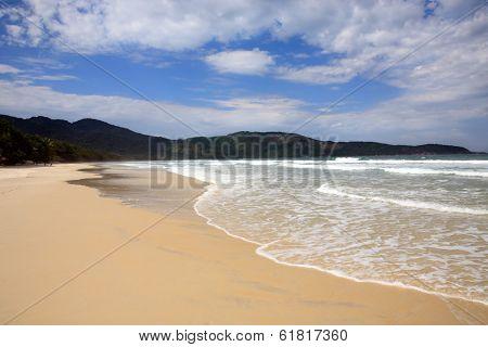 lopes mendes beach in the beautiful island of ilha grande near rio de janeiro in brazil