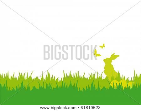Easter background with butterflies, bunny and eggs. Easter vector illustration with silhouettes of bunny, butterflies, eggs and grass