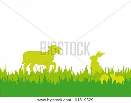 Easter background with lamb, bunny and eggs. Easter vector illustration with silhouettes of bunny, lamb, eggs and grass