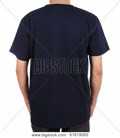 Blank T-shirt On Man (back Side)