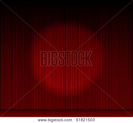 vector stage with red curtain and spot light