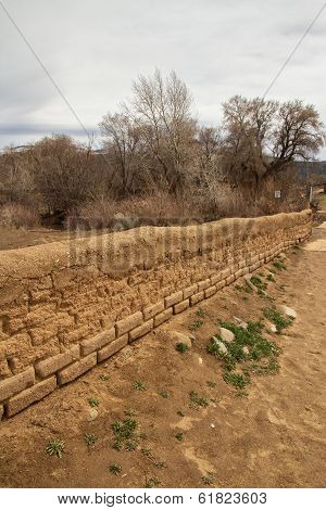 Low adobe wall