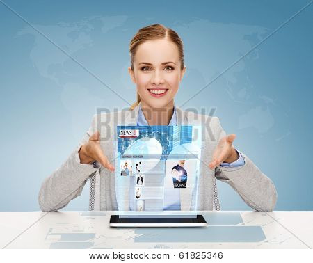 business, technology, internet and office concept - smiling businesswoman with tablet pc computer and news on virtual screen