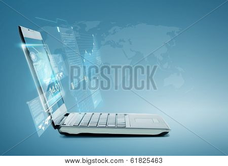 technology and advertisement concept - laptop computer with chart and graphs on screen