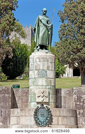 Statue of King Dom Afonso Henriques by the Sacred Hill in the city of Guimaraes. The first king of Portugal in the 12th century. UNESCO World Heritage Site.