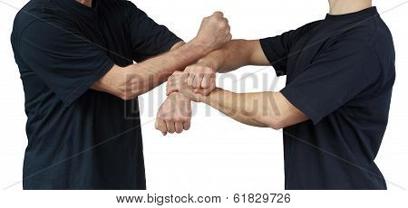 Performing techniques hands of Wing Chun Kung Fu