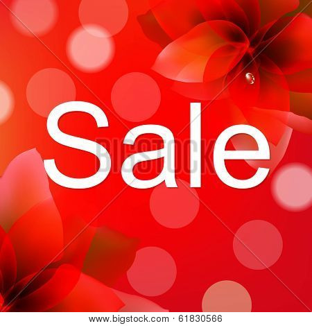 Red Sale Poster With Flower, With Gradient Mesh, Vector Illustration