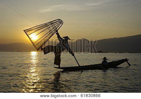 Fisherman Silhouette At Sunset, Inle Lake, Myanmar (burma)