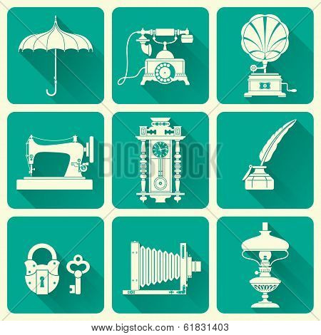 Vintage Ephemera And Objects Of Old Era Icons