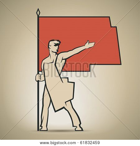 Soviet Worker With Red Flag