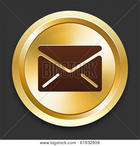 Envelope Icons on Gold Button Collection