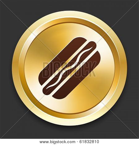 Hotdog Icons on Gold Button Collection