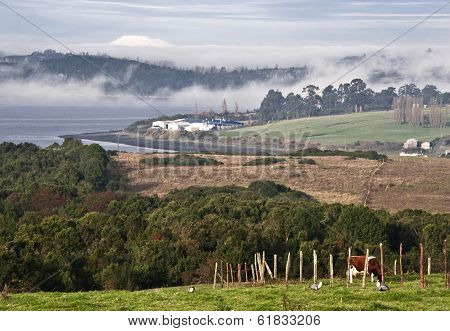 Idyllic Landscape Castro Neighborhoods In The Archipelago Of Chiloe, Chile