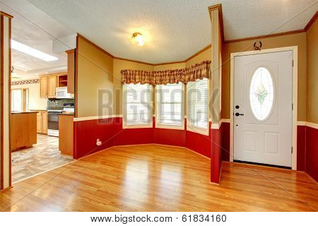 House Interior With Red Wood Plank Wall Trim