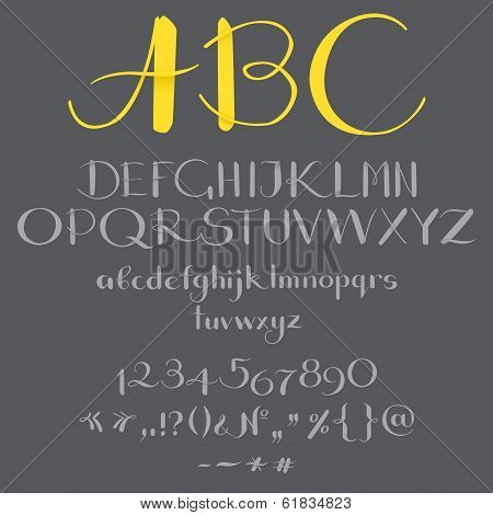 The alphabet in calligraphy